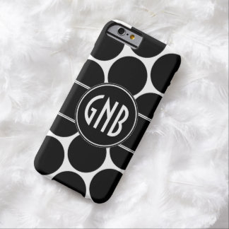 MONOGRAM INITIALS BLACK POLKA DOTS PATTERN BARELY THERE iPhone 6 CASE