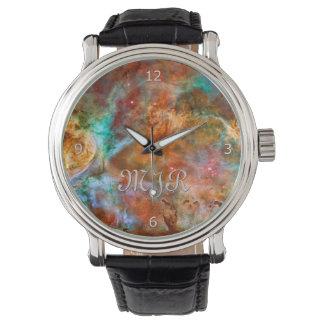 Monogram initials - Carina Nebula, Argo Navis Wristwatch
