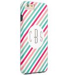 Monogram Initials Colorful Stripes Aqua Blue Pink iPhone 6 Plus Case