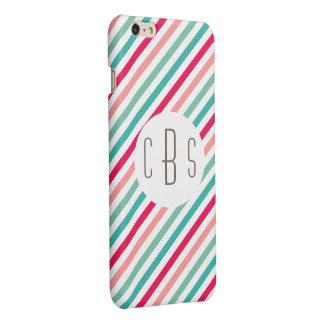 Monogram Initials Colorful Stripes Aqua Blue Pink Glossy iPhone 6 Plus Case