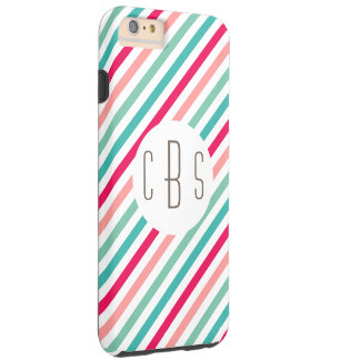 Monogram Initials Colorful Stripes Aqua Blue Pink Tough iPhone 6 Plus Case