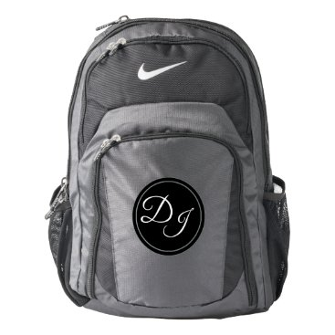 Professional Business Monogram Initials DJ Black White and Grey Nike Backpack
