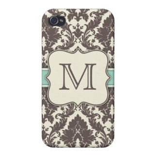 Monogram Initials Elegant Floral Damask Art Deco Cover For iPhone 4