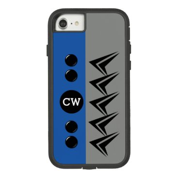 Monogram initials for men arrows grey and blue Case-Mate tough extreme iPhone 8/7 case