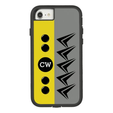 Monogram initials for men arrows grey and yellow Case-Mate tough extreme iPhone 8/7 case
