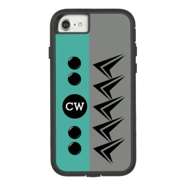Monogram initials for men arrows grey teal Case-Mate tough extreme iPhone 8/7 case