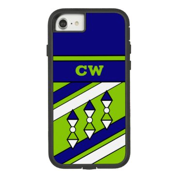 Monogram initials for men blue and green Case-Mate tough extreme iPhone 8/7 case
