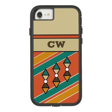 Monogram initials for men orange green brown Case-Mate tough extreme iPhone 8/7 case