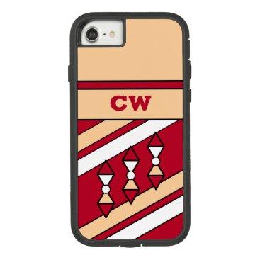 Monogram initials for men red peach Case-Mate tough extreme iPhone 8/7 case