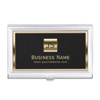 Monogram Initials Gold Framed Professional Dark Business Card Holder
