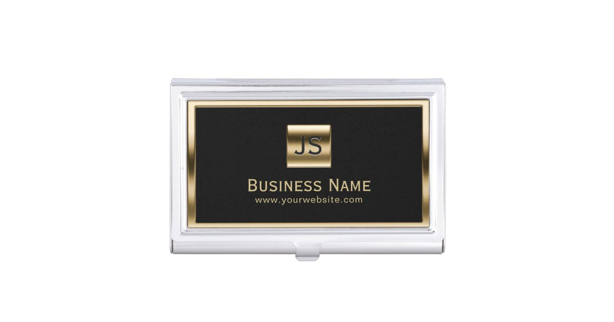 Monogram initials gold framed professional dark business card holder monogram initials gold framed professional dark business card holder zazzle colourmoves