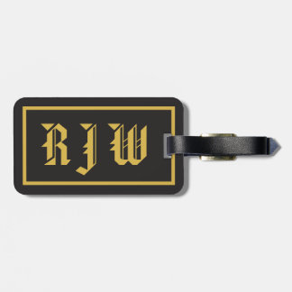 Monogram Initials Gold on Black traditional style Tag For Luggage