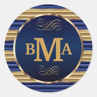 Monogram Initials in Dark Blue & Gold Stripes Classic Round Sticker