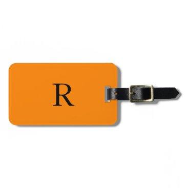 Halloween Themed Monogram Initials Name Bright Orange Black Trendy Bag Tag