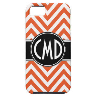MONOGRAM INITIALS ORANGE CHEVRON iPhone 5 Case