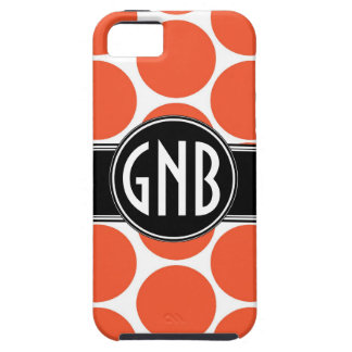 MONOGRAM INITIALS ORANGE POLKA DOTS iPhone 5 Case
