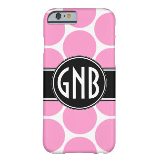 MONOGRAM INITIALS PINK POLKA DOTS BARELY THERE iPhone 6 CASE