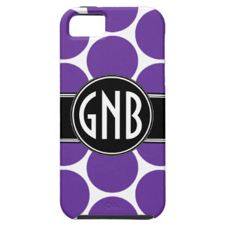 MONOGRAM INITIALS PURPLE POLKA DOTS iPhone 5 Case