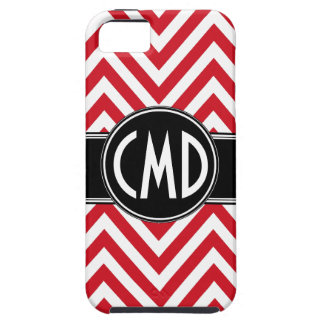 MONOGRAM INITIALS RED CHEVRON PATTERN iPhone 5 CASE