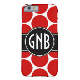 MONOGRAM INITIALS RED POLKA DOTS BARELY THERE iPhone 6 CASE