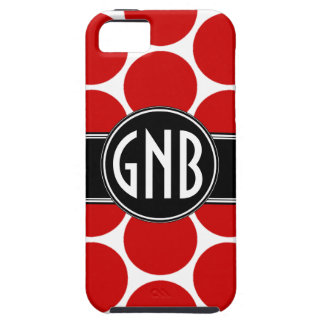 MONOGRAM INITIALS RED POLKA DOTS iPhone 5 Case
