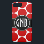 "MONOGRAM INITIALS RED POLKA DOTS iPhone 8 PLUS/7 PLUS CASE<br><div class=""desc"">MODERN MOD FUN RED POLKA DOTS PATTERN WITH BLACK AND WHITE THREE INITIALS DESIGN which you can personalize with your three initials monogram. Use &quot;customize it&quot; to adjust the spacing of different letters. FUN, BOLD, STYLISH . ELKE CLARKE&#169; for MonogramGallery. Want a different color POLKA DOT pattern or background or...</div>"