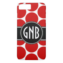 MONOGRAM INITIALS RED POLKA DOTS iPhone 8 PLUS/7 PLUS CASE
