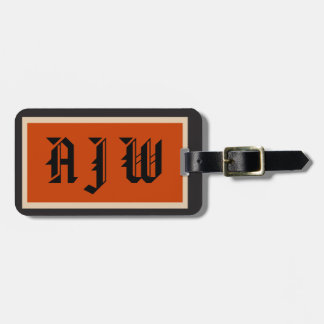 Monogram Initials traditional style Tag For Bags