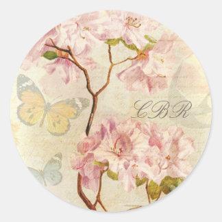 Monogram Initials Vintage Chic Elegant Floral Pink Sticker