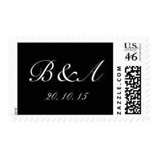 Monogram Initials Wedding Date Postage | Black