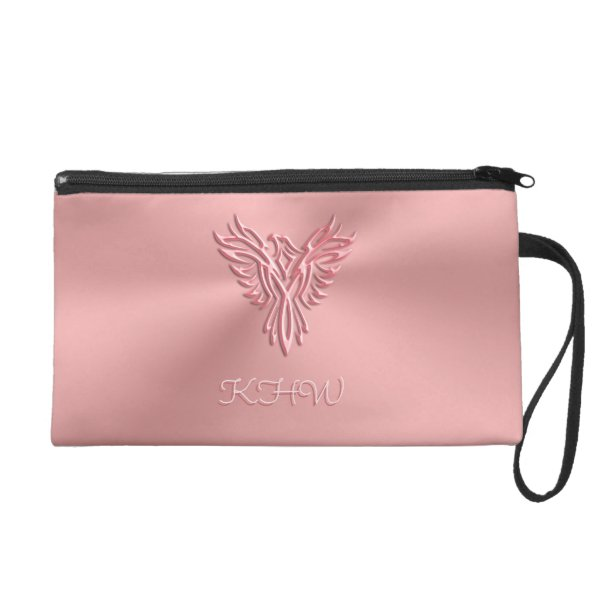 Monogram initials with Pink Phoenix image design Wristlet Purse