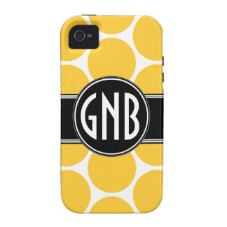 MONOGRAM INITIALS YELLOW POLKA DOTS iPhone 4 Case