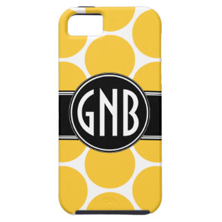 MONOGRAM INITIALS YELLOW POLKA DOTS iPhone 5 Case