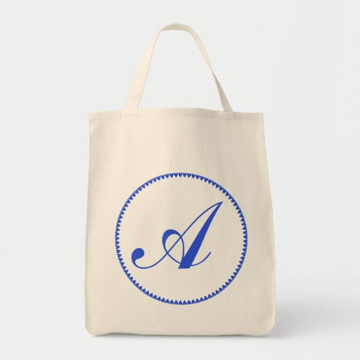 Monogram initital letter A blue hearts tote Grocery Tote Bag