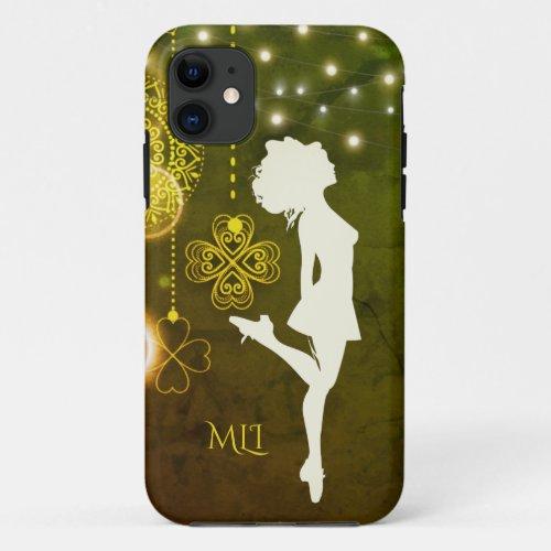 Monogram Irish Dance Celtic Clovers and Lights iPhone 11 Case