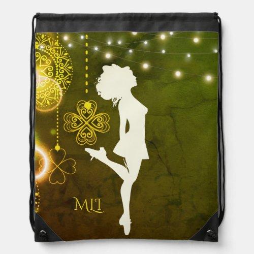 Monogram Irish Dance Celtic Clovers and Lights Drawstring Bag