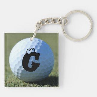 (Monogram - It) Golf Ball on Green close-up photo Keychain