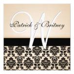 Monogram Ivory  & Black Damask Wedding Invitations