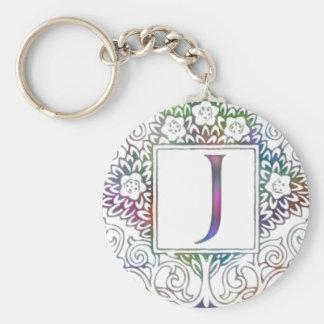 Monogram J Basic Round Button Keychain