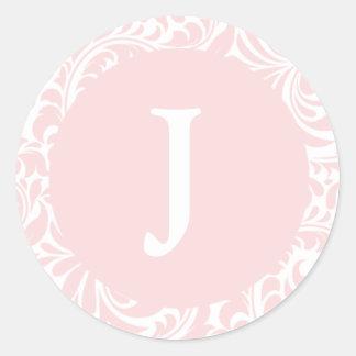 Monogram J Blush Color Custom Wedding Monograms In Classic Round Sticker