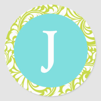 Monogram J Chartreuse Pale Blue Personalizable Wed Classic Round Sticker