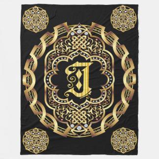 Monogram J CUSTOMIZE To Change Background Color Fleece Blanket