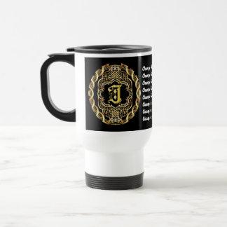 Monogram J CUSTOMIZE To Change Background Color Travel Mug