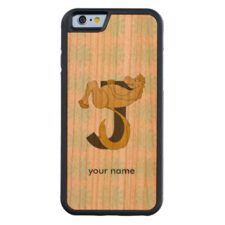Monogram J Flexible Horse Personalised Carved® Cherry iPhone 6 Bumper