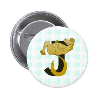 Monogram J Flexible Pony Personalized 2 Inch Round Button