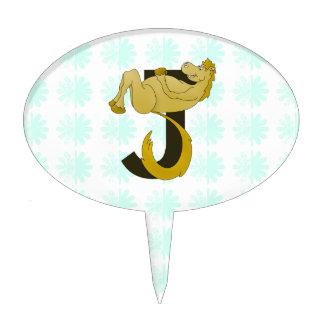 Monogram J Flexible Pony Personalized Cake Topper