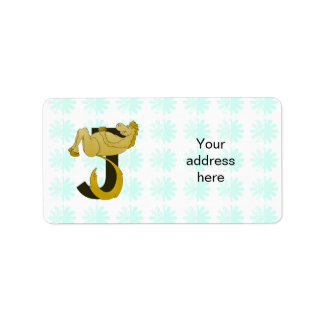 Monogram J Flexible Pony Personalized Label