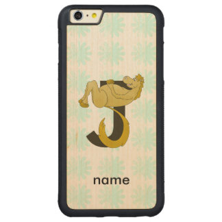 Monogram J Flexible Pony Personalized Carved® Maple iPhone 6 Plus Bumper Case