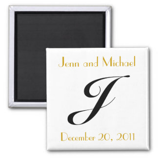 Monogram J Gold & Black Wedding Announcement Refrigerator Magnets