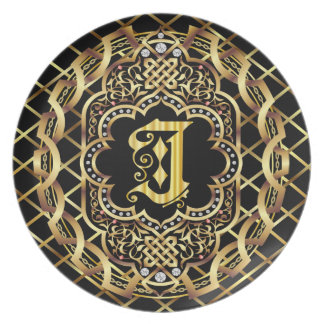 Monogram J IMPORTANT Read About Design Melamine Plate
